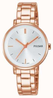 Pulsar Bracelet en acier inoxydable plaqué or en cuir Womans PH8340X1