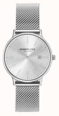 Kenneth Cole Bracelet en maille en acier inoxydable en cuir blanc KC15057007