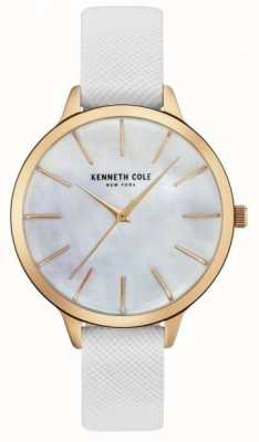 Kenneth Cole Cuir blanc femme de sangle à la mère de perle KC15056001
