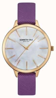 Kenneth Cole Chaîne en cuir violet femme cadran de perle KC15056002