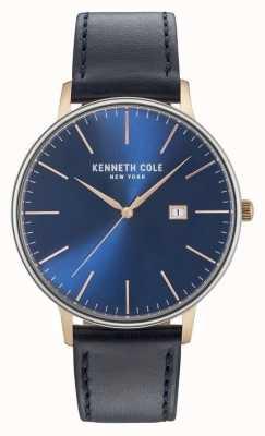 Kenneth Cole Mens cadran de date bleu foncé bracelet en cuir noir KC15059004
