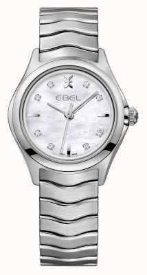 EBEL Montre Wave en acier inoxydable sertie de diamants 1216193