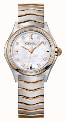 EBEL Montre en or rose bicolore avec diamants Wave 1216324
