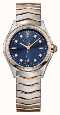 EBEL Montre Wave à cadran bleu sertie de diamants pour femmes 1216379
