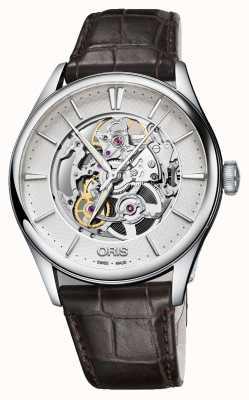 Oris Artelier skeleton bracelet en cuir marron automatique 01 734 7721 4051-07 5 21 65FC