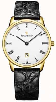 Dreyfuss Mens 1980 bracelet en cuir montre plaqué or DGS00136/01