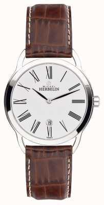 Michel Herbelin Montre courte classique pour homme équinoxe bracelet marron 19577/01GO