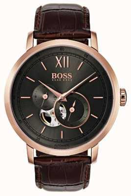 Boss Montre automatique pour homme en cuir marron 1513506
