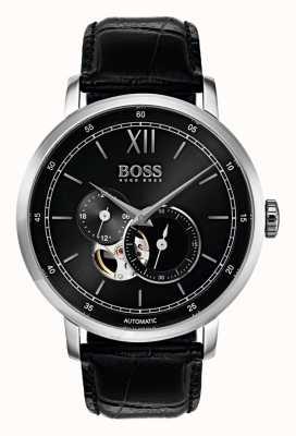 Hugo Boss Montre automatique automatique en cuir noir 1513504