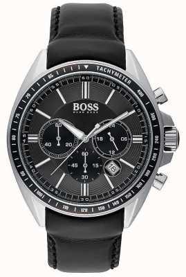 Hugo Boss Chronographe en cuir noir sport conducteur sport 1513085