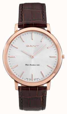 GANT Bracelet en cuir marron homme harrison blanc W70606