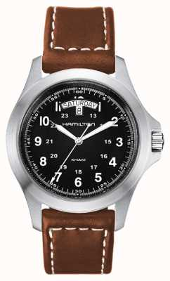 Hamilton Kaki Field King cuir marron quartz H64451533