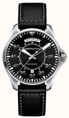 Hamilton Khaki jour pilote jour auto cuir noir H64615735