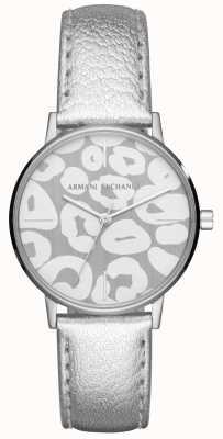 Armani Exchange Ceinture en cuir argenté lola en cuir en acier inoxydable AX5539
