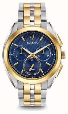 Bulova Bracelet en métal à deux tons chronographe Mens Curv 98A159