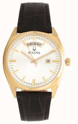 Bulova Tonalité or classique avec bracelet en cuir 97C106