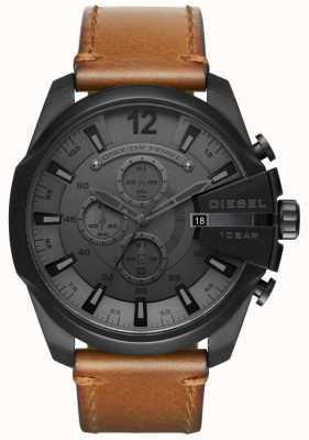 Diesel Montre homme méga montre cadran noir bracelet en cuir marron DZ4463