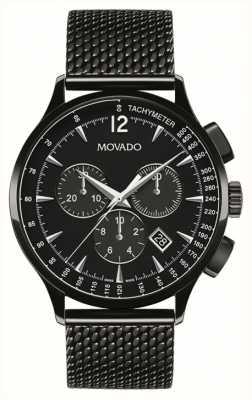 Movado Mens circa chronographe noir plaqué or 0606804