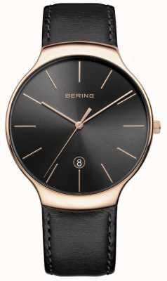 Bering Bracelet en cuir noir datant classique pour hommes 13338-462