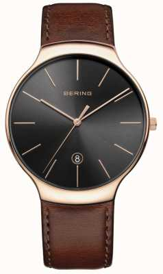 Bering Bracelet en cuir marron classique pour hommes 13338-562