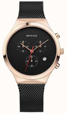 Bering Hommes classique noir chronographe noir lanière milanaise 14736-166
