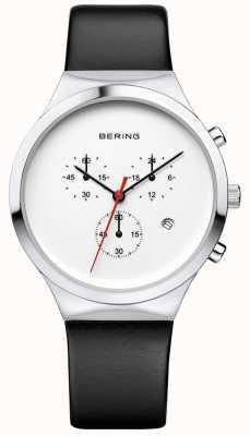 Bering Bracelet en cuir noir chronographe classique classique Mens 14736-404
