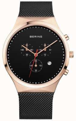 Bering Hommes classique noir chronographe noir lanière milanaise 14740-166