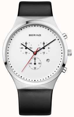 Bering Bracelet en cuir noir chronographe classique classique Mens 14740-404