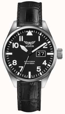 Aviator Mens airacobra p42 bracelet en cuir noir cadran noir V.1.22.0.148.4