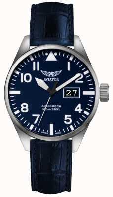 Aviator Mens airacobra p42 bracelet en cuir bleu cadran bleu V.1.22.0.149.4