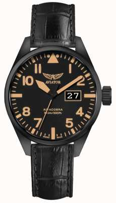Aviator Mens airacobra p42 bracelet en cuir noir cadran noir V.1.22.5.157.4