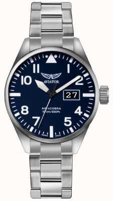Aviator Bracelet en acier inoxydable airacobra p42 pour homme cadran bleu V.1.22.0.149.5