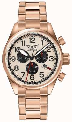 Aviator Montre à cadran doré à l'or airacobra p45 chrono V.2.25.2.173.5