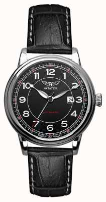 Aviator Hommes douglas bracelet automatique en cuir noir cadran noir V.3.09.0.107.4