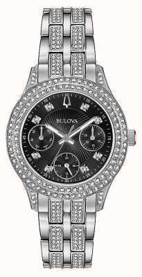 Bulova Montre à chronographe noir en cristal pour femme 96N110