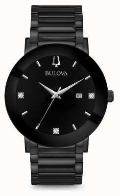 Bulova Montre diamant moderne pour hommes noir 98D144