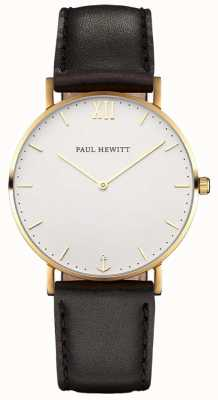 Paul Hewitt Braguotte en cuir noir marin simple PH-SA-G-SM-W-2M