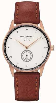 Paul Hewitt Bracelet en cuir marron signature unisexe PH-M1-R-W-1M