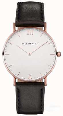 Paul Hewitt Braguotte en cuir noir marin simple PH-SA-R-SM-W-2M