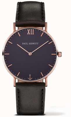 Paul Hewitt Bracelet unisexe en cuir noir PH-SA-R-ST-B-2M