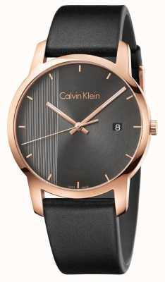 Calvin Klein | montre de ville en cuir noir pour hommes | K2G2G6C3