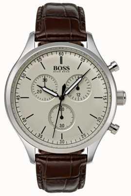Boss Bracelet chronographe pour homme marron en cuir marron 1513544