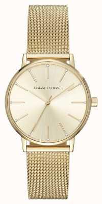 Armani Exchange Womans plaqué or bracelet montre en maille AX5536