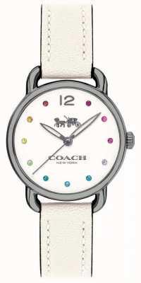 Coach Womans delancey montre bracelet en cuir blanc 14502915