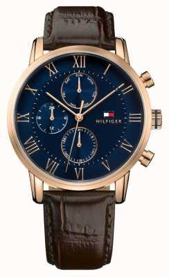 Tommy Hilfiger Kane chronographe bleu cadran bracelet en cuir marron 1791399
