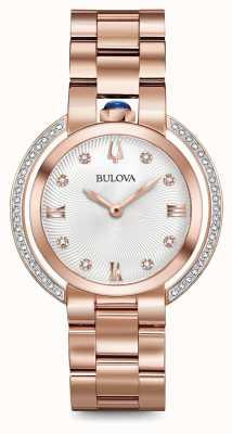Bulova Womans rubaiyat rose gold tone diamond watch 98R248