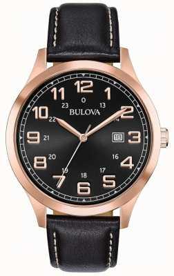 Bulova Montre habillée homme en cuir noir et or rose 97B164