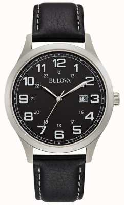 Bulova Montre habillée homme en cuir noir 96B276