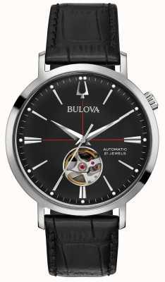 Bulova Montre automatique en cuir noir pour homme 96A201