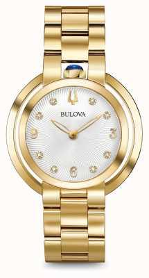 Bulova Womans rubaiyat gold tone diamond watch 97P125